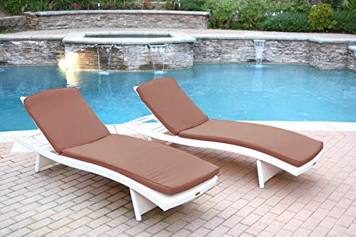 (Jeco WL-1W_2_CL1-FS007 Wicker Adjustable Chaise Lounger with Ivory Cushion-Set of 32)