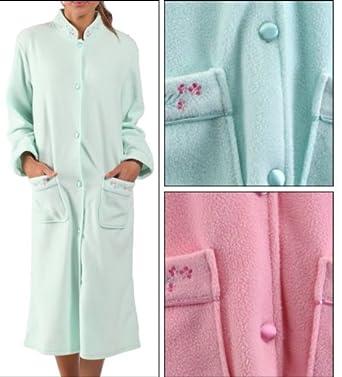 Ladies Polar Fleece Button Up Dressing Gowns Womens Bathrobe Pockets ...