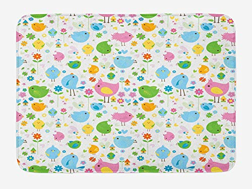 Birds Bath Mat, Spring Season Birds and Flowers Colorful Arrangement Lively April Nature Illustration, Plush Bathroom Decor Mat with Non Slip Backing, 23.6 W X 15.7 W Inches, Multicolor