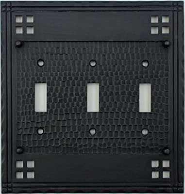 Arts & Crafts Mission Style Oil Rubbed Bronze Three Gang Switch Plate - Three Toggle Light Switch Openings