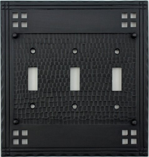 Arts & Crafts Mission Style Oil Rubbed Bronze Three Gang Switch Plate - Three Toggle Light Switch (Crafts Mission Bronze Finish)
