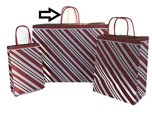 Set/10 LARGE Christmas Gift Bags - Red Peppermint Candy Stripe
