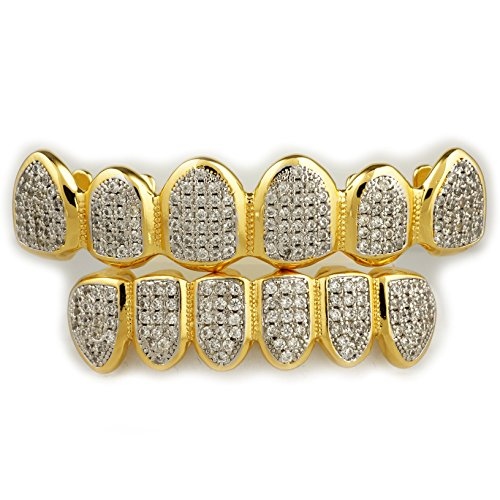 18K Gold Plated CZ Micro Pave Top Bottom CUSTOM GRILLZ SET Rhodium Teeth Gril... (Where Can I Buy Fake Vampire Fangs)