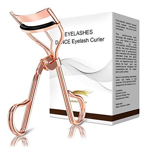 Eyelashes Dance Eyelash Curler Golden Lash Curler With Fleece Bag & 3 Refill Pads Professional Lashes Curler No Pinch,Fits Various Eye Lashes