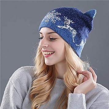 9d15dfd8b Amazon.com: HOKUGA cute kitty winter hat for women Rabbit fur wool ...