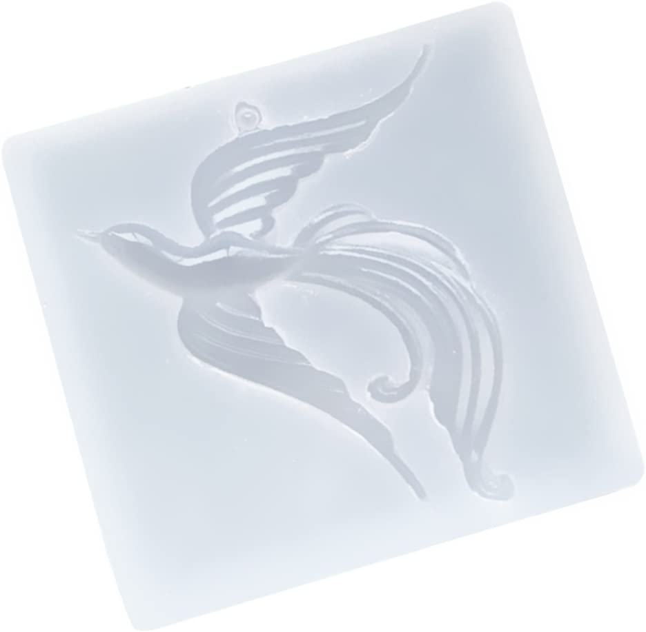 Silicone Phoenix Mold with Hole Resin Jewelry Pendant Charm DIY Making Mould Tool