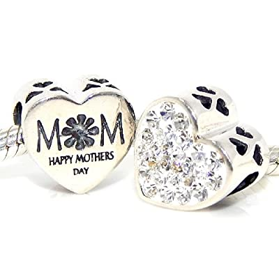"Pro Jewelry .925 Sterling Silver ""Mom Happy Mother's Day White Crystal Heart 2 Sided "" Charm 4137"