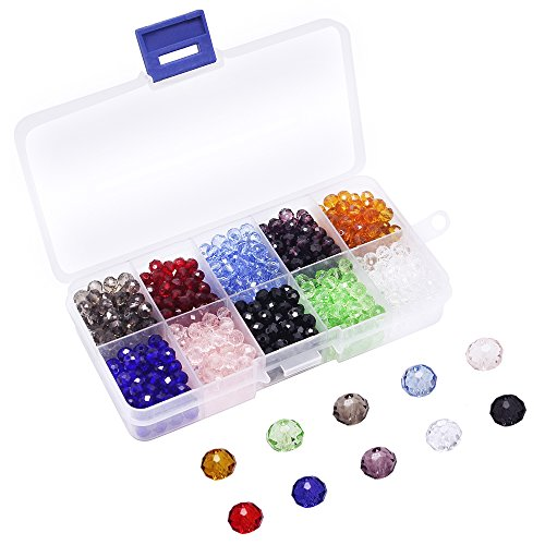 Choker Necklace Kit - Dreamtop Multicolor 800 Pieces 6mm Faceted Crystal Glass Beads with Box for Jewelry Making DIY Crafts