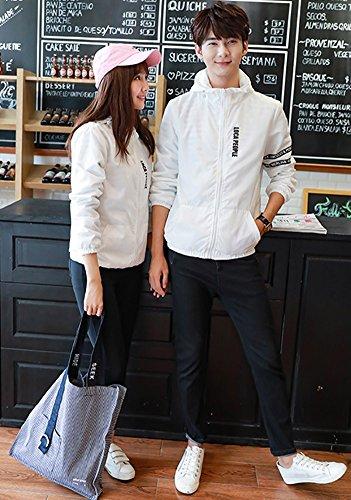 Largas Cremallera Blanco Frontal Coat para Otoño Chaqueta Carta Patrón Tops Hombres Hombre Minetom Mangas Bombardero Primavera Jacket Mujer Amantes Cazadora wvzntq8T