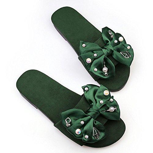 Verano Sandalias Versión coreana Zapatillas Zafiro de tacón bajo Zapatilla de gamuza sandalias sandalias al aire libre Sandalias de moda Color / tamaño opcional ( Color : Verde , Tamaño : EU38/UK5.5/C Verde