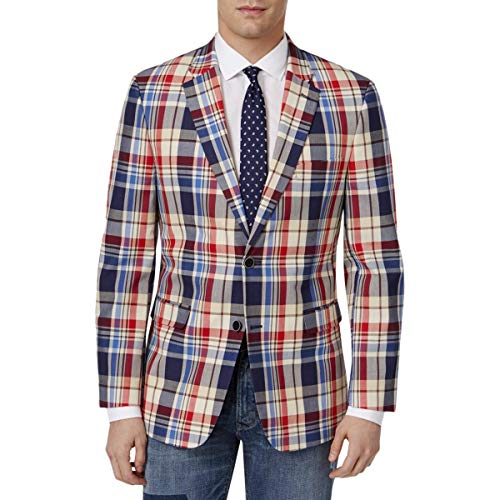 Coat Madras Sport (Tommy Hilfiger Men's Two Button Madras Blazer, Red/Blue, 42 Long)