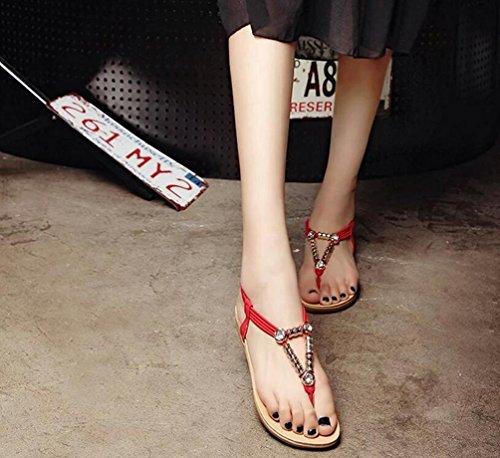 Yiiquan Mujer Sandalias Verano Bohemia Clip Dedo Del Pie Sandalias Con Cuentas Zapatos de Playa Estilo1 Rojo
