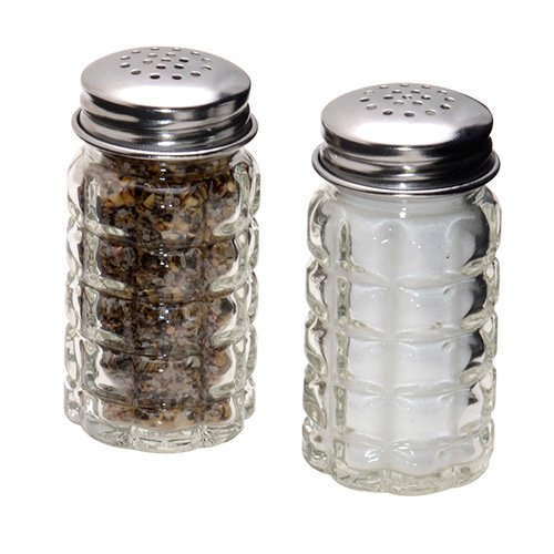 Retro Style Salt and Pepper Shakers with Stainless Tops (Glass Salt Pepper Shakers)