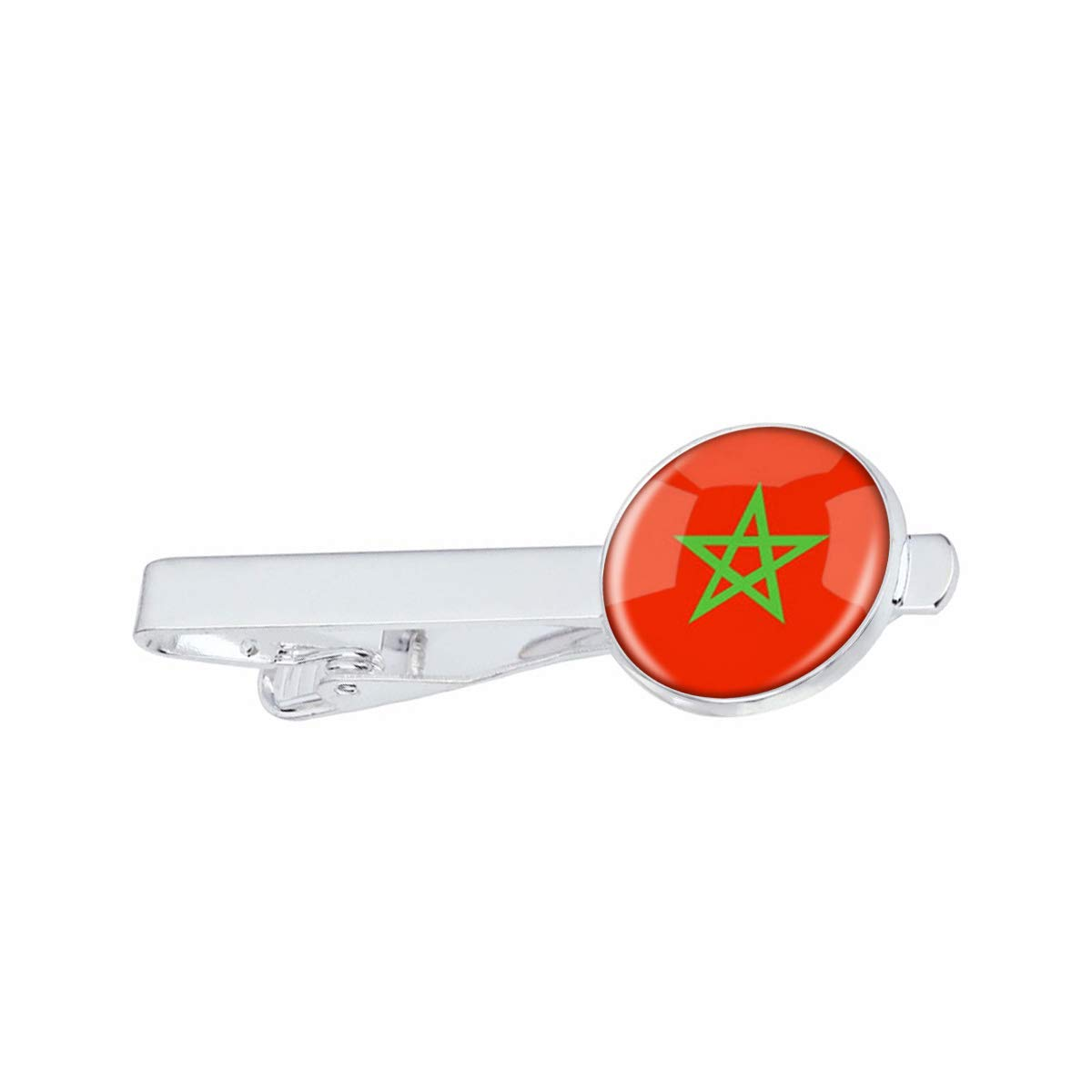 LooPoP Men Tie Clip The Kingdom of Morocco National Flag Stainless Tie Pins for Business Wedding Shirts Tie Clips Include Gift Box