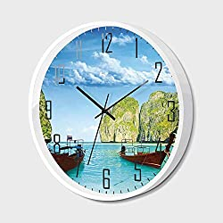RWNFA Non Ticking Wall Clock Silent with Metal Frame HD Glass Cover,Landscape,Traditional Longtail Boats at Maya Bay in Thailand Asian Exotic Seascape Image,for Office,Bedroom,16inch