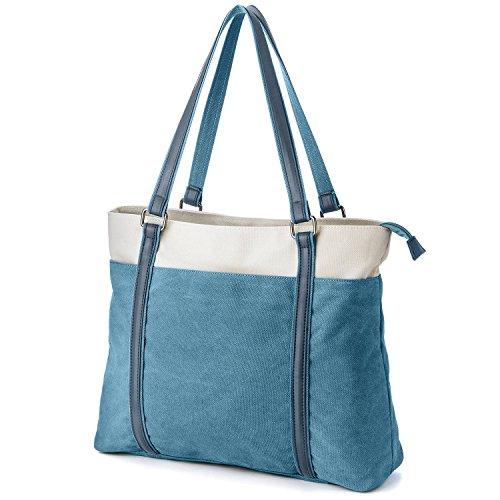 Splice Large Capacity Leather Canvas Shoulder Handbag Crossbody Bag for Women
