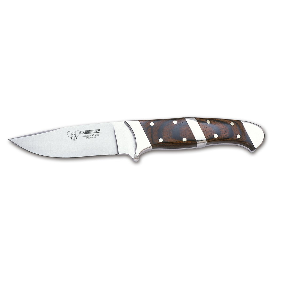 Cudeman Hunting Fixed Blade Knife 233-R with Wooden Handle of Stamina Sheet 9.5 cm with Brown Leather case. Limited Edition