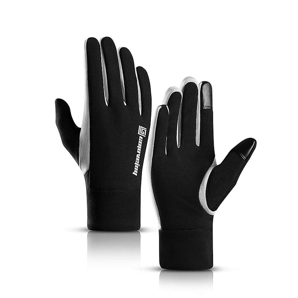 AINIYF Outdoor Gloves Men's Winter Plus Velvet Touch Screen Female Warm Winter Riding Motorcycle Sports Gloves Elastic Waterproof Windproof Driving Ride (Size : L)