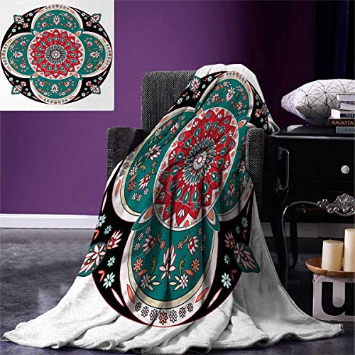 smallbeefly Arabian Super Soft Lightweight Blanket Oriental Ornate Embriodery Style Floral Ethnic Illustration Old Eastern Artistic Oversized Travel Throw Cover Blanket 90''x70'' Multicolor by smallbeefly