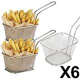 Juego de cestas individuales pequeñas para fritura (de acero inoxidable, 10 x 8 x 7 cm, 6 unidades)