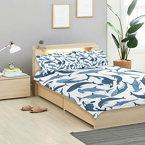 - VANKINE Whales Duvet Cover Set Whales Fish Pattern 2 Design Bedding Decoration Queen/Full Size 3 PC Sets 1 Duvets Covers with 2 Pillowcase Microfiber Bedding Set Bedroom Decor Accessories