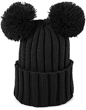 Kid Baby Boys Girls Winter Warm Hat Knitted Double Pompom Ball Beanie Ski Cap