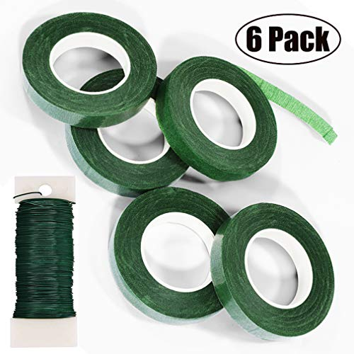 """FENGWANGLI Green Flexible Paddle Wire and 5 Rolls 1/2"""" Wide 30Yard Roll Floral Tapes for Bouquet Stem Wrap Florist Craft Projects (Dark Green)"""