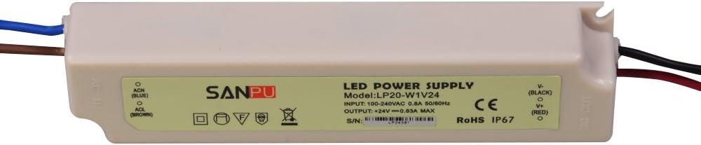 SMPS Waterproof LED Power Supply 24v 20w 0.8a Constant Voltage Switch Driver 220v 110v ac dc Lighting Transformer IP67 White SANPU LP20-W1V24