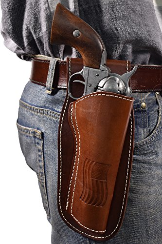 4 Inch Leather Revolver Holster Fits Ruger GP100, S&W, and Taurus 4 Inch Barrel Single Action Revolvers   Western Style Cowboy Holster  USA Made by The Amish