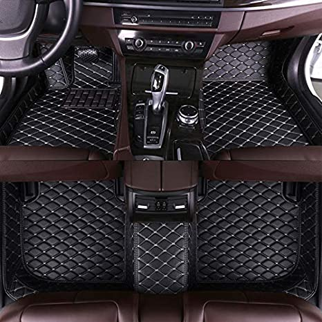 Car Floor Mats for Chrysler 300C 2004-2011 Sedan Full Covered Leather Carpet Auto All Weather Protection Front /& Rear Liner Set Red