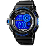 Aposon Men's Digital Sports Watch, Military Army Electronic Watches Running 50M 5 ATM Waterproof Sports LED Wristwatch Water Resistant with Stopwatch - Blue