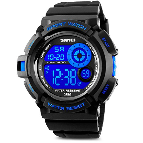 Water Resistant Stopwatches (Aposon Men's Digital Sports Watch, Military Army Electronic Watches Running 50M 5 ATM Waterproof Sports LED Wristwatch Water Resistant with Stopwatch - Blue)
