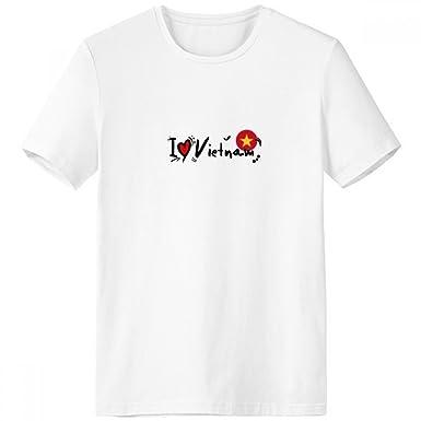 db14f324b4d Amazon.com  I Love Vietnam Word Flag Love Heart Illustration Crew Neck White  T-shirt Short Sleeve Comfort Sports T-shirts Gift  Clothing