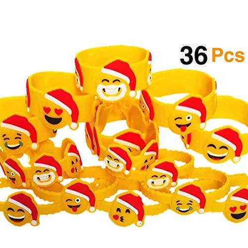 OHill 36Pcs Christmas Emoji Bracelets Kids Emoji Wristbands (12 Different Xmas Emoji Design) for Christmas Party Favors Supplies Party Goodie Bags Filler Christmas Classroom Prize -
