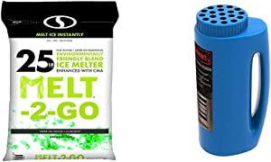 Snow Joe AZ-25-EB Melt-2-Go Nature + Pet Friendly CMA Blended Ice Melter & Stalwart 82-YJ487 Spreader, Salt and Seed Spreader, Also for Fertilizer, Deicing/Ice Melt by Stalwart (Blue)