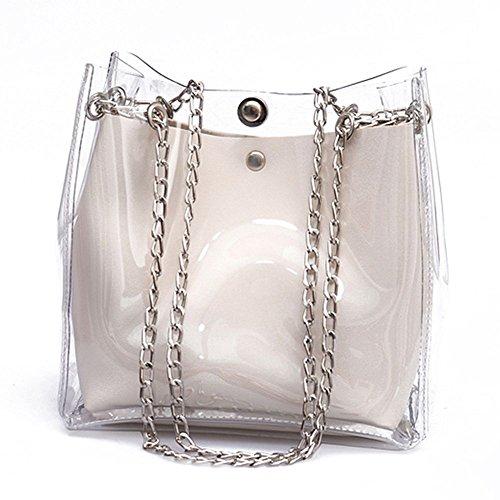 Piccolo Catena Plastica Sacchetto Mini Borse Totes Bianco Femminile Trasparente Del Jelly Composito Di Donne Toogoo Secchio 7IqY5Y