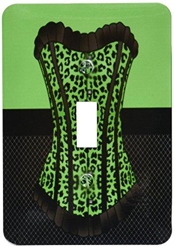 3dRose lsp_58705_1 Green and Black Cheetah Print Corset on Black Fishnet Light Switch Cover (Cheetah Print Light Switch Cover)