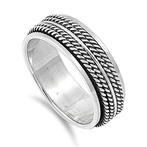 Rope Design Ring - 925 Sterling Silver 8mm Oxidize Finish Braided Rope Design Spinner Ring -SZ: 12