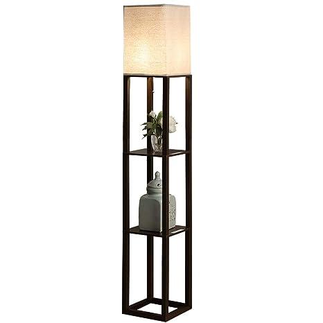 QIANGUANG® Iluminación interior Lámpara de pie de madera de 1,6 m con estantes para dormitorio y sala de estar (sin bombilla) (Negro USB)