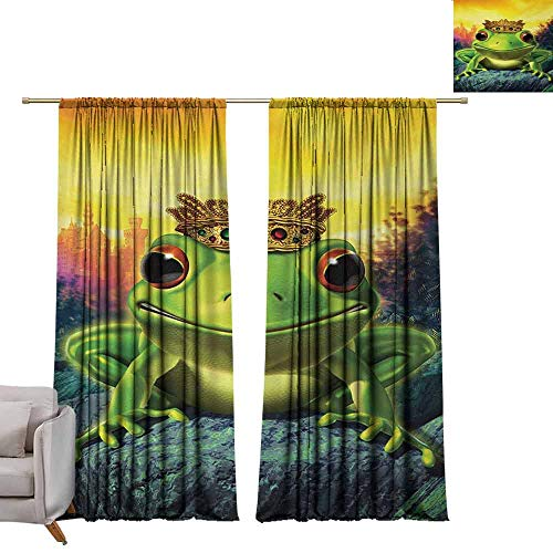 berrly Grommet Blackout Curtains Animal,Frog Prince with Golden Yellow Crown on Rocks Fairytale Soul Mates Illustration,Green Yellow W108 x L84 Art Drapery Panels