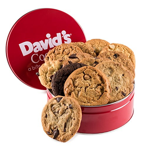 David's Cookies — Assorted Fresh-Baked Cookie Gift Tin — Contains 12 Fresh Cookies — Fresh Homemade Cookies — No Added Preservatives — All-Natural Cookies — 1 lb. Gift (Oatmeal Cookie Gift Baskets)