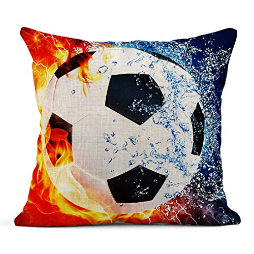 (Tarolo Throw Pillow Case Ice and Fire Can Football Sports Soccer Center Forward Halfbacks Linen Home Decorative Pillow Cases Cover 16 x 16 inches)