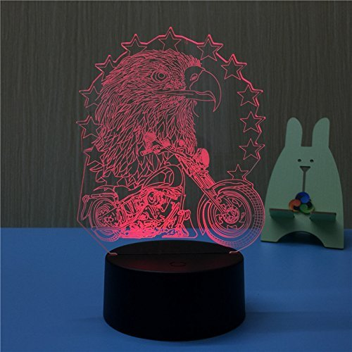 Animal 3D Eagle and Motorcycle Night Light Touch Switch Decor Table Desk Optical Illusion Lamps 7 Color Changing Lights LED Table Lamp Xmas Home Love Brithday Children Kids Decor Toy Gift by MOLLY HIESON