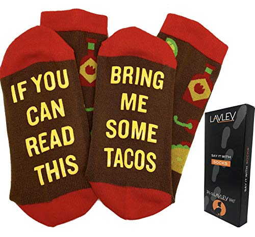 If You Can Read This Bring Me Tacos - Funny Unisex Funky Colorful Dress or Casual Socks - By Lavley