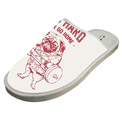 Slippers with Pug Weightlifting Original Indoor Sandals Coup