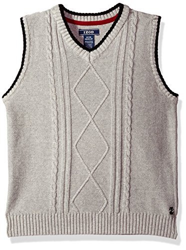 IZOD Big Boys' Cable Sweater Vest, Light Grey, Small (Cable Sweater Izod)