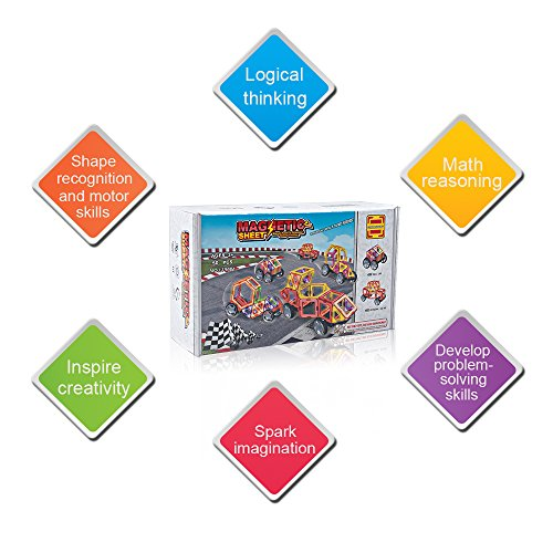 Happy Childhood Basic Set 50 Pieces Magnetic Building Blocks, Educational Magnetic Tiles, Magnetic Building STEM Toy Includes Wheels, Creativity Recreational Educational Toy for Kids by Happy Childhood (Image #4)