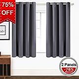 (US) Blackout Curtains Thermal Insulated Grommet Light Blocking Draperies Room Darkening Panels for Living Room, Bedroom, Nursery by TEKAMON (W52