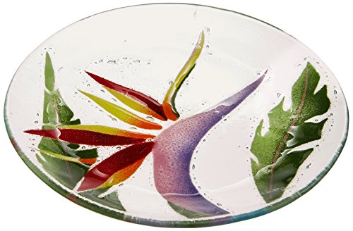 (Fusion Art Glass 8-Inch Round Plate with Birds Of Paradise Design)