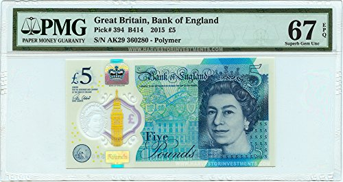 Pmg Superb Gem (2015 No Mint Mark Great Britain £5 Banknote Polymer - PMG 67 EPQ - First Ever GB Polymer Note - Winston Churchill Commemorative - £5 PMG 67)